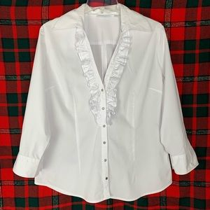 New York & Company white button down w ruffles, L